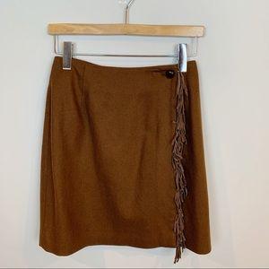 VTG David Eliot Leather Fringed Wool Miniskirt